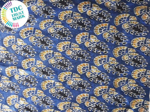 Blue Yellow Floral Design Cotton Fabric (20 Metres Each)