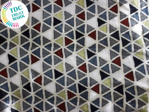 Off White Gray Geometric Design Cotton Fabric (20 Metres Each)