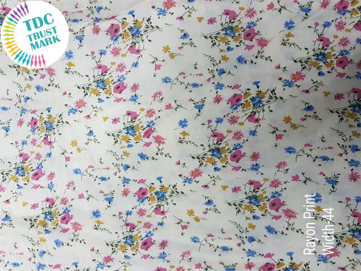 White Multicolour Floral Rayon Fabric (500 Metres)