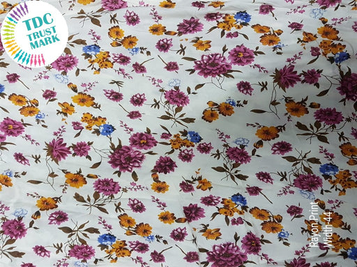 White Purple Floral Rayon Fabric (500 Metres)
