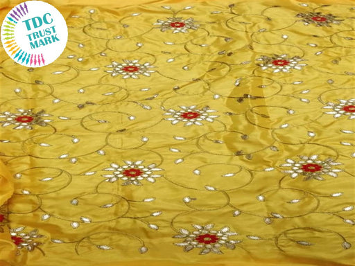 Yellow Floral Design Paper Silk Fabric (20 Metres)
