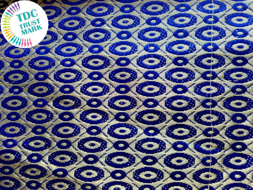 White and Blue Dotted Jaipuria Jacquard Fabric (70 Meters)