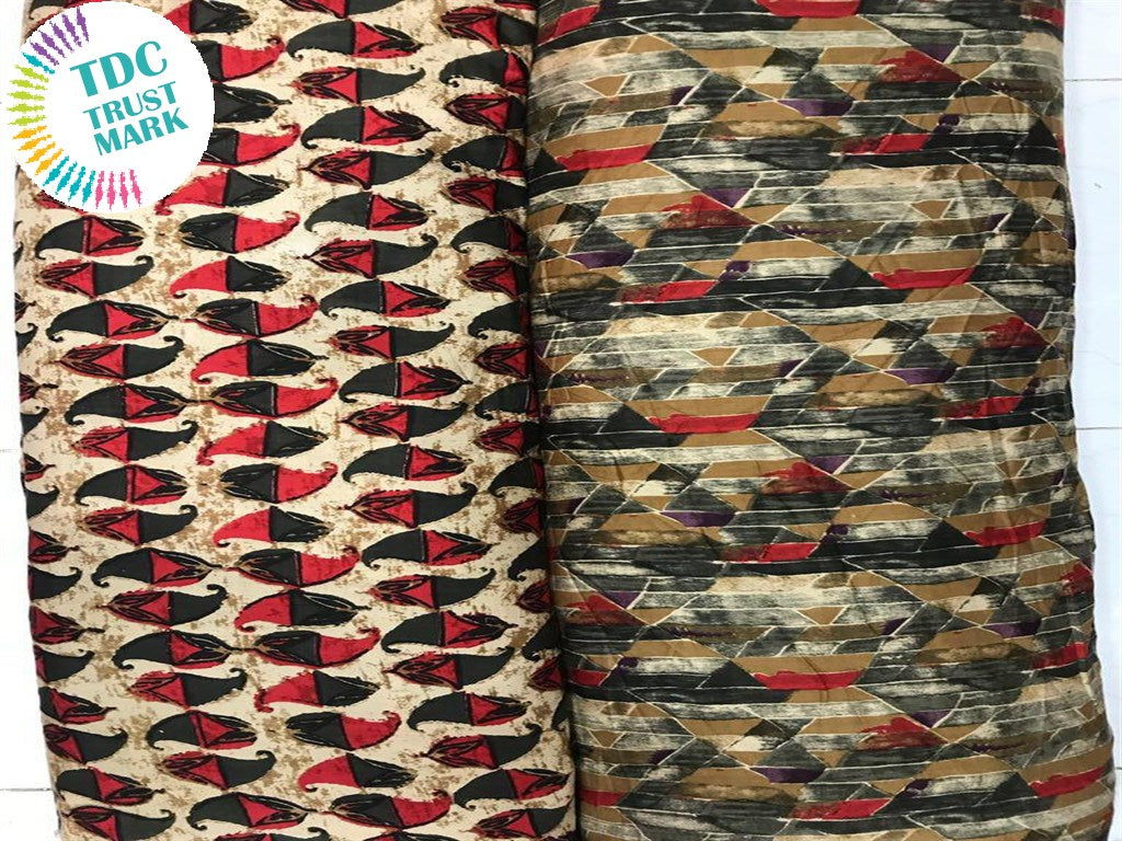 Multicolour Brown Geometric Design Rayon Fabric (250 Metres Each Design)
