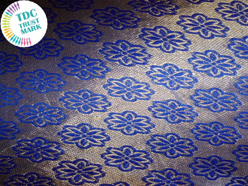 Silver and Blue Floral Jaipuria Jacquard Fabric (70 Meters)