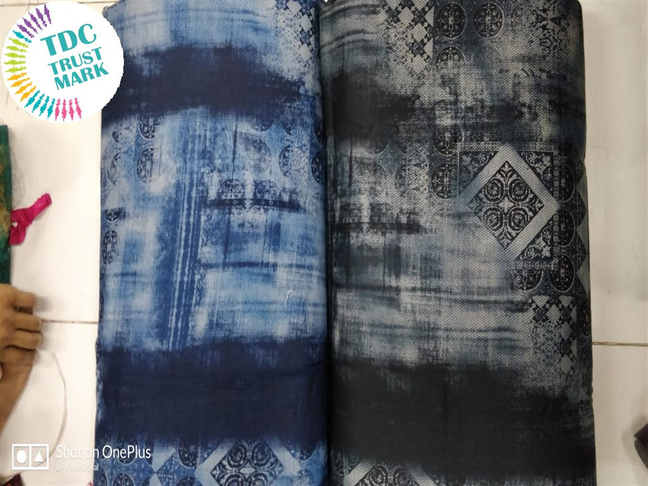 Blue And Gray Rayon Fabric (50 Meters Each Design Each Design)