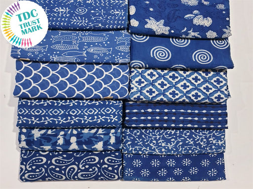 Blue Design 2 Handblocked Cotton Fabric (20 Metres any 2 Colours)