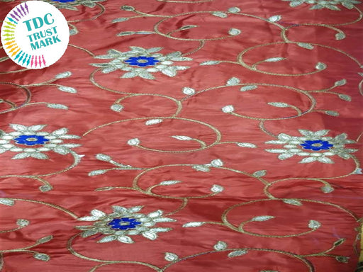 Red Orange Floral Design Paper Silk Fabric (20 Metres)