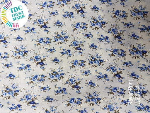 White Blue Floral Rayon Fabric (500 Metres)