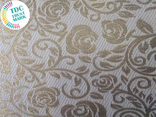 Golden Floral Zari Work Polyester Fabric (100 Metres)