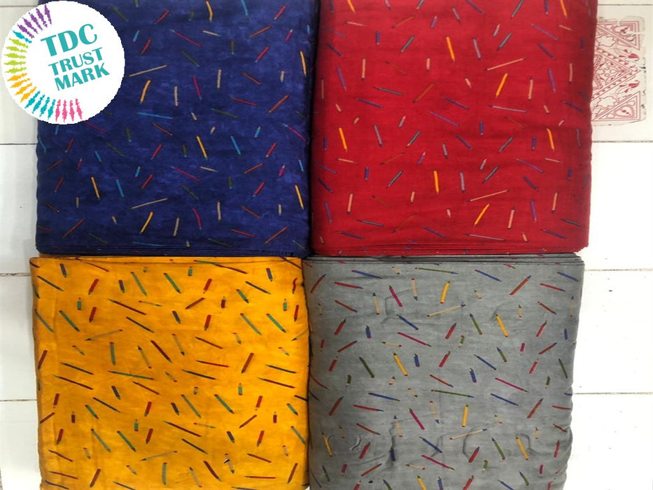 Multicolour Objects Design Rayon Fabric (250 Metres Each Design)