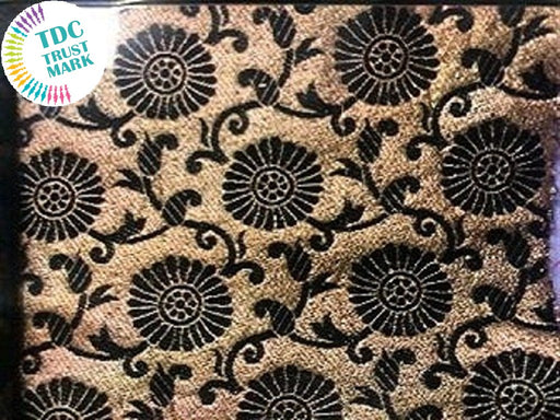 Beige Black Floral Zari Work Polyester Fabric (100 Metres)