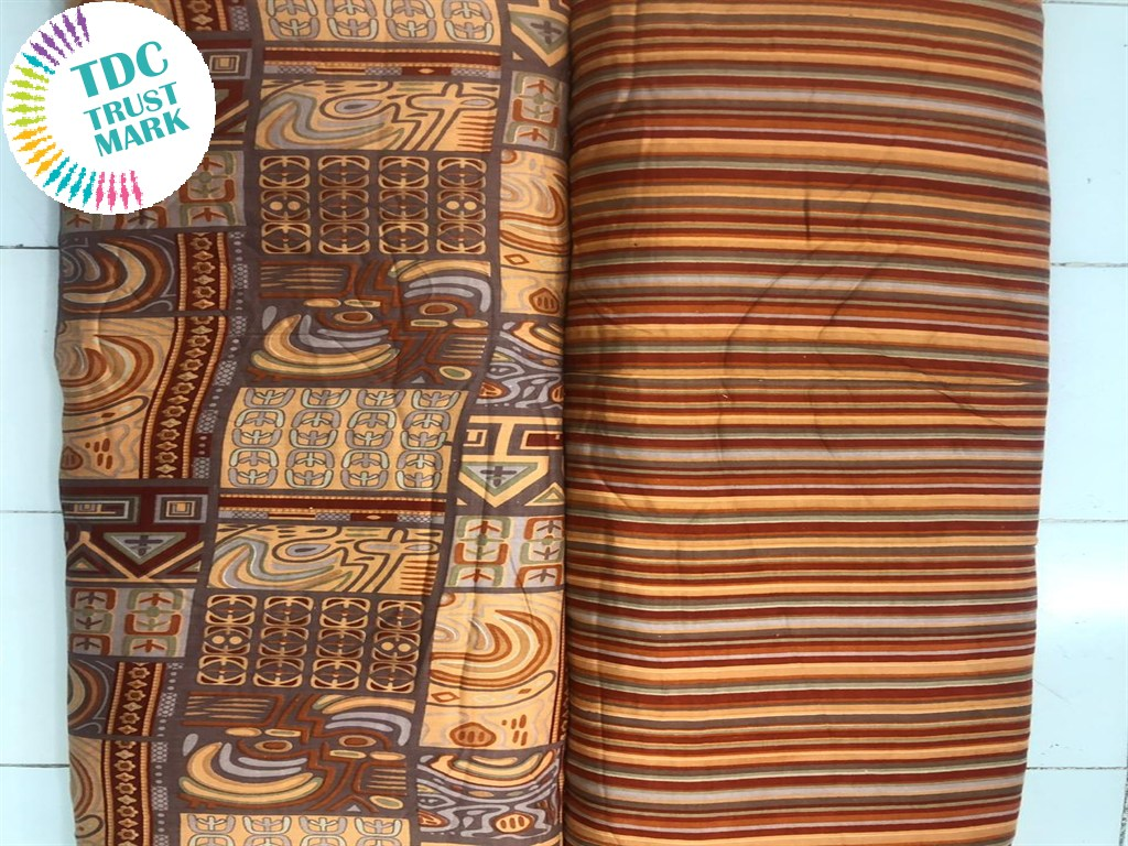 Brown Abstract Stripes Design Rayon Fabric (250 Metres Each Design)