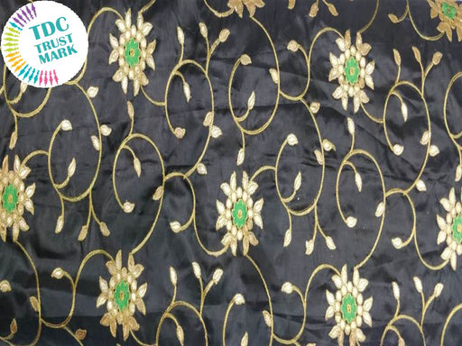 Black Floral Design Paper Silk Fabric (20 Metres)