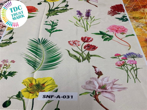 Off White Floral Polyester Fabric (200 Meters)