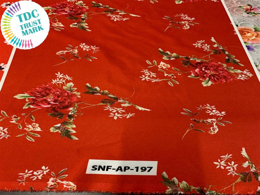 Red Floral Polyester Fabric (200 Meters)