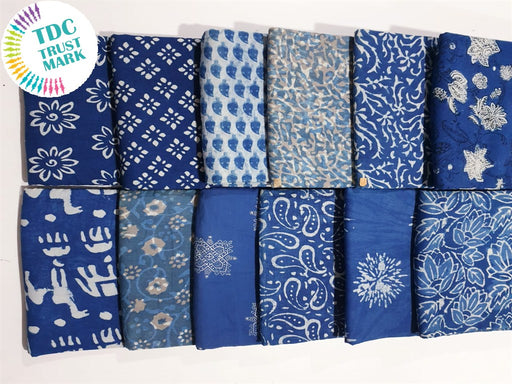 Blue Design 3 Handblocked Cotton Fabric (20 Metres any 2 Colours)