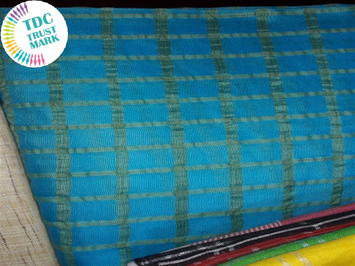 Blue Checks Design Cotton Silk Fabric(30 Metres Each)