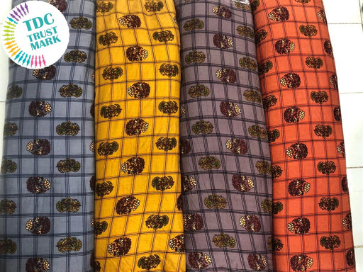 Multicolour Checks Floral Design Rayon Fabric (250 Metres Each Design)