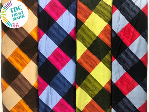 Multicolour Checks Design Rayon Fabric (250 Metres Each Design)
