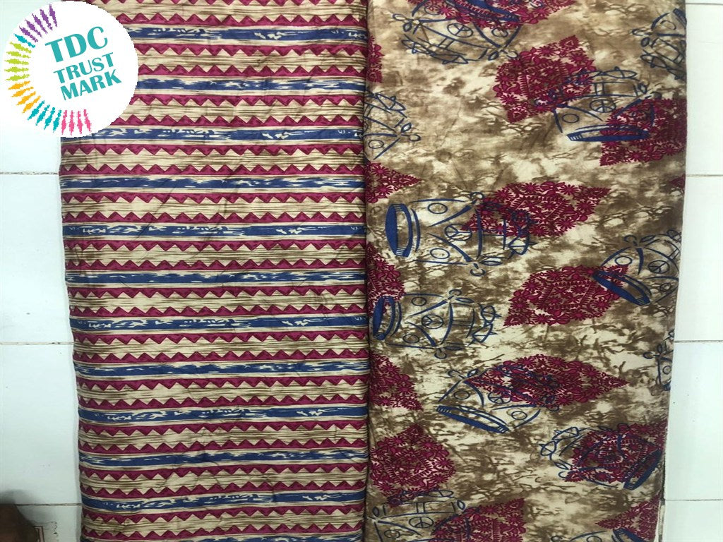 Beige Maroon Objects Design Rayon Fabric (250 Metres Each Design)