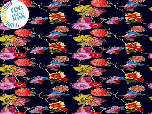 Black Floral Poly Crepe Fabric (25 Metres)