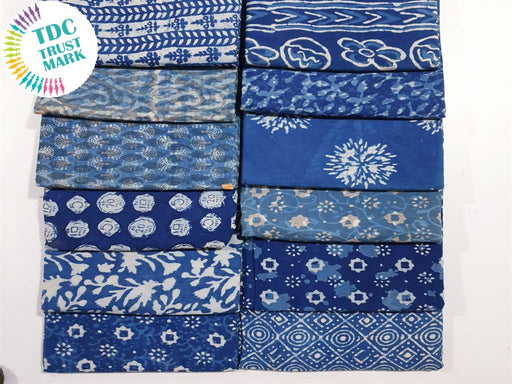 Blue Design 4 Handblocked Cotton Fabric (20 Metres any 2 Colours)