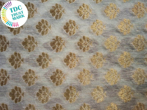 White and Golden Cotton Zari Fabric (200 Meters)