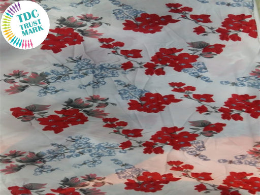 White Red Floral Crepe Fabric (100 Metres)