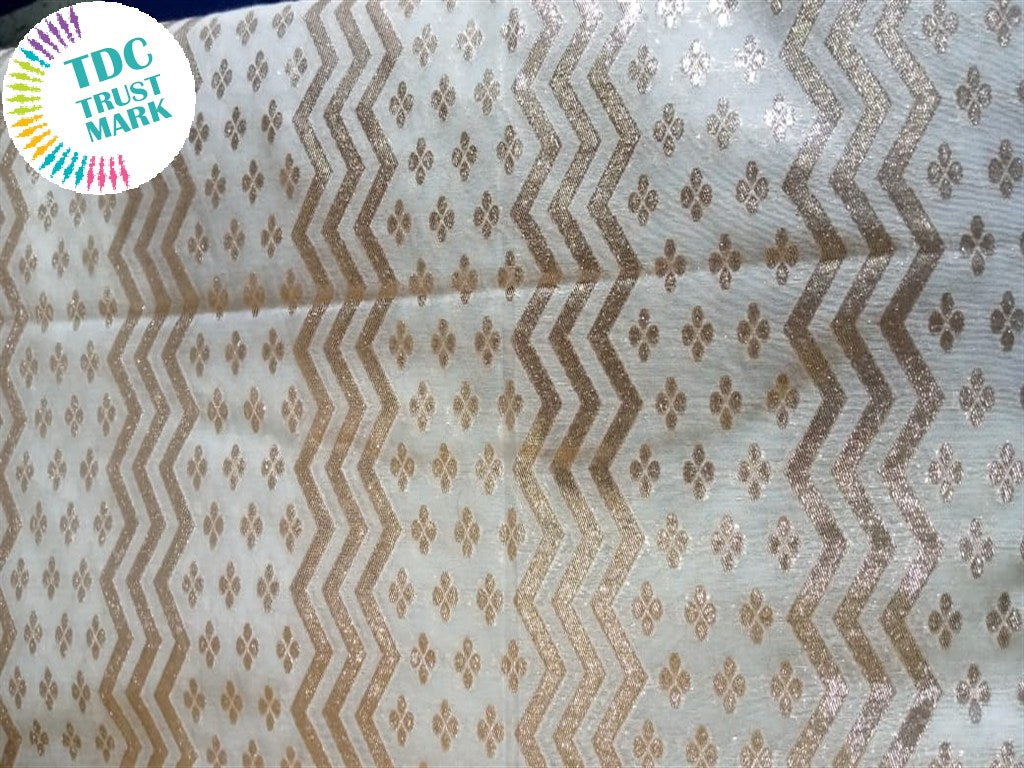 Golden Chevron Floral Cotton Chanderi Fabric (50 Metres)