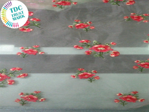 White Red Flowers Design Organza Fabric (50 Metres)