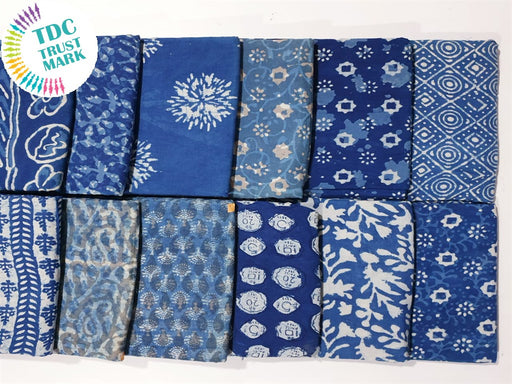 Blue Design 5 Handblocked Cotton Fabric (20 Metres any 2 Colours)