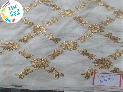 White and Golden Pure Chiffon Fabric (15 Meters)