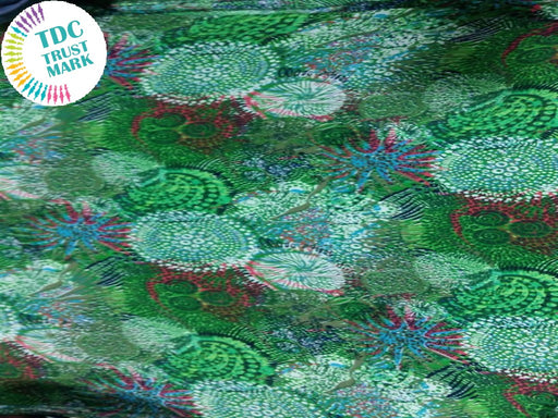 Green Abstract Crepe Fabric (100 Metres)