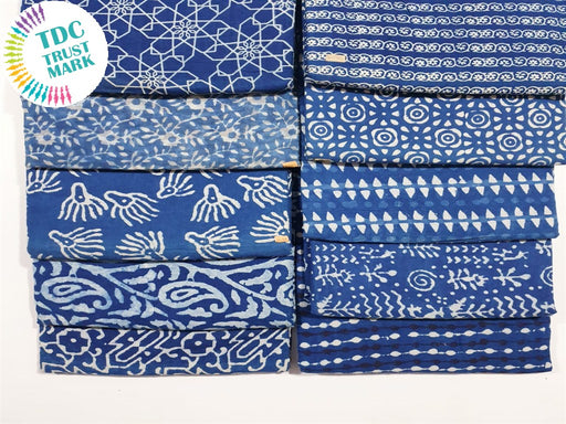 Blue Design 6 Handblocked Cotton Fabric (20 Metres any 2 Colours)