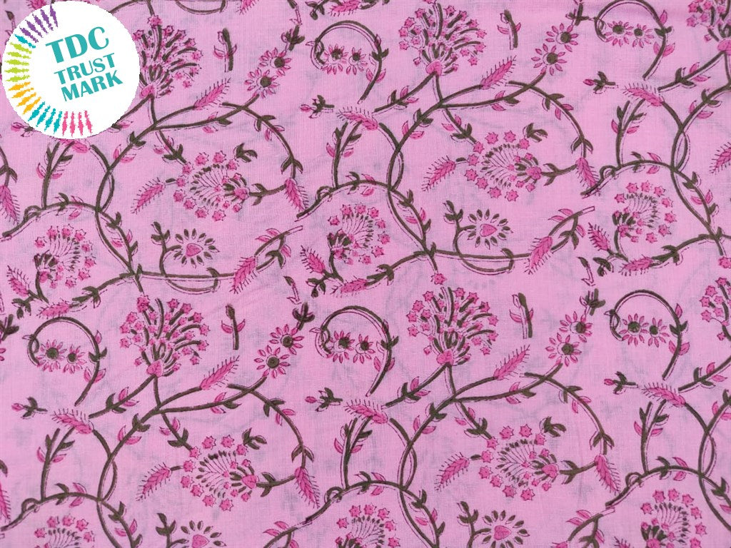 Baby Pink Design hand block printed cotton fabric (10 Meters)
