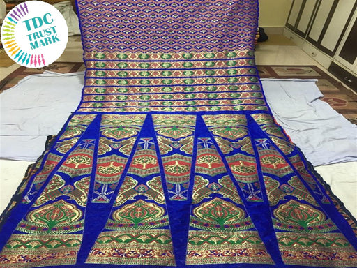 Blue Rangoli Print Polyester Fabric (Set Of 4, 6.5 Metres)
