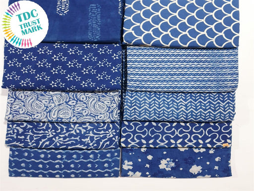 Blue Design 8 Handblocked Cotton Fabric (20 Metres any 2 Colours)