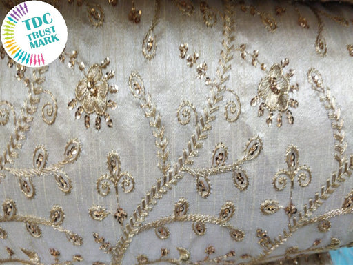 White Floral Design Embroidered Duplin Fabric (20 Metres)