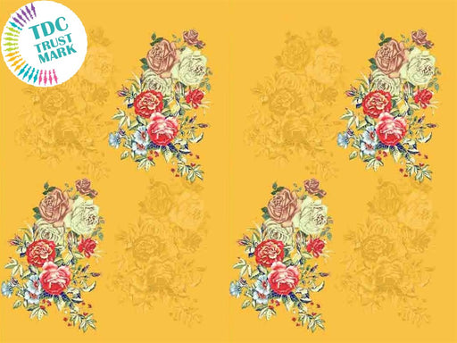 Yellow Floral Poly Crepe Fabric (25 Metres)