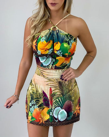 Halter Tropical Print Top & Short Sets