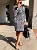 Ribbed Printed Long Sleeve Dress