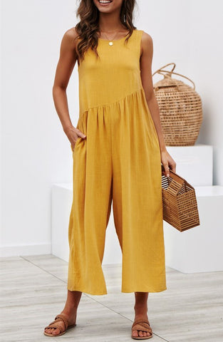 Solid Color Sleeveless Round Neck Jumpsuit