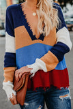 Long Sleeve Striped V-Neck Sweater