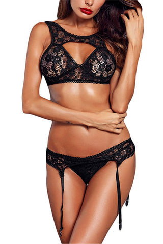 Lace Openwork Stitching Sexy Three-Piece Lingerie