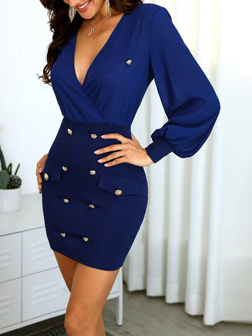Solid V-Neck Button Design Wrap Dress