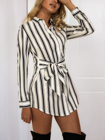 Striped Lace-Up Long-sleeve shirt Dress
