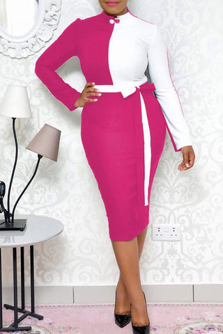 Color Block Long Sleeve Casual OL Midi Dress