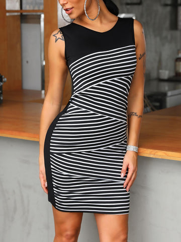 Sleeveless Striped Splicing Bodycon Dress