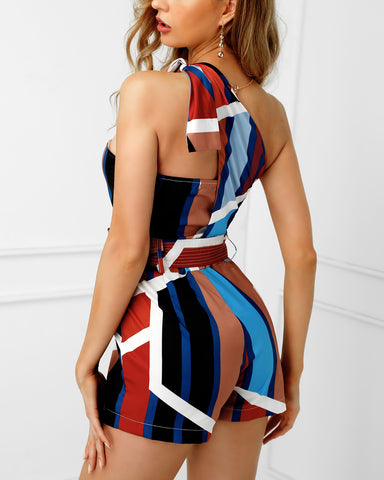 One Shoulder Stripes Knotted Romper