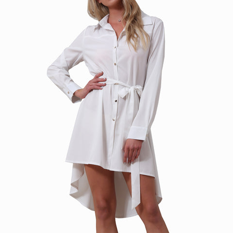 Button Mid-length Style shirt dress